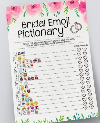 This is a graphic of Emoji Bridal Shower Game Free Printable with emoji phrases