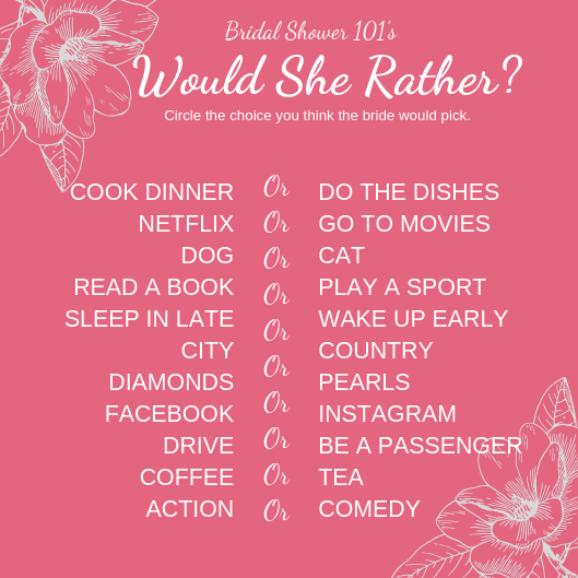 image about Would She Rather Bridal Shower Game Free Printable named Absolutely free Would She In its place Bridal Shower Activity Bridal Shower 101